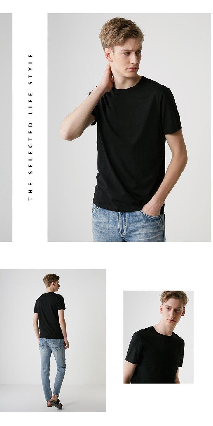 Men's Summer 100% Cotton Pure Color Round Neckline Short-sleeved T-shirt 52