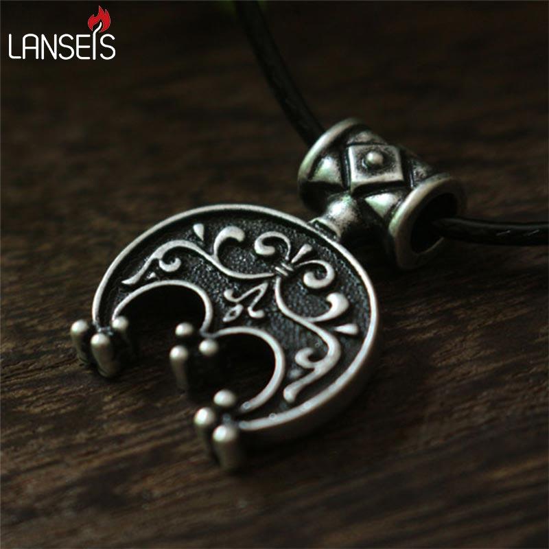 lanseis10pc norse Lunula pendant Moon Crescent Necklace pendant jewelry LUNITSA Slavic pendant Feminine charm