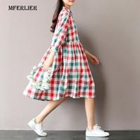 Mferlier Mùa Hè Ăn Mặc Chuyển Xuống Cổ Áo Rời Cotton Linen lolita Kẻ Sọc Váy In Eo Cao Phụ Nữ Giản Dị Váy