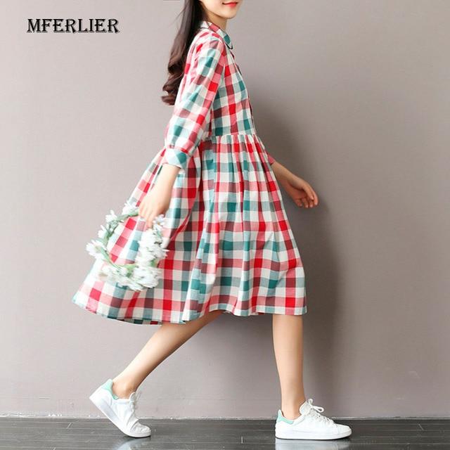 Mferlier Summer Dress Turn Down Collar Loose Cotton Linen lolita Plaid Dress Print High Waist Casual Women Dresses