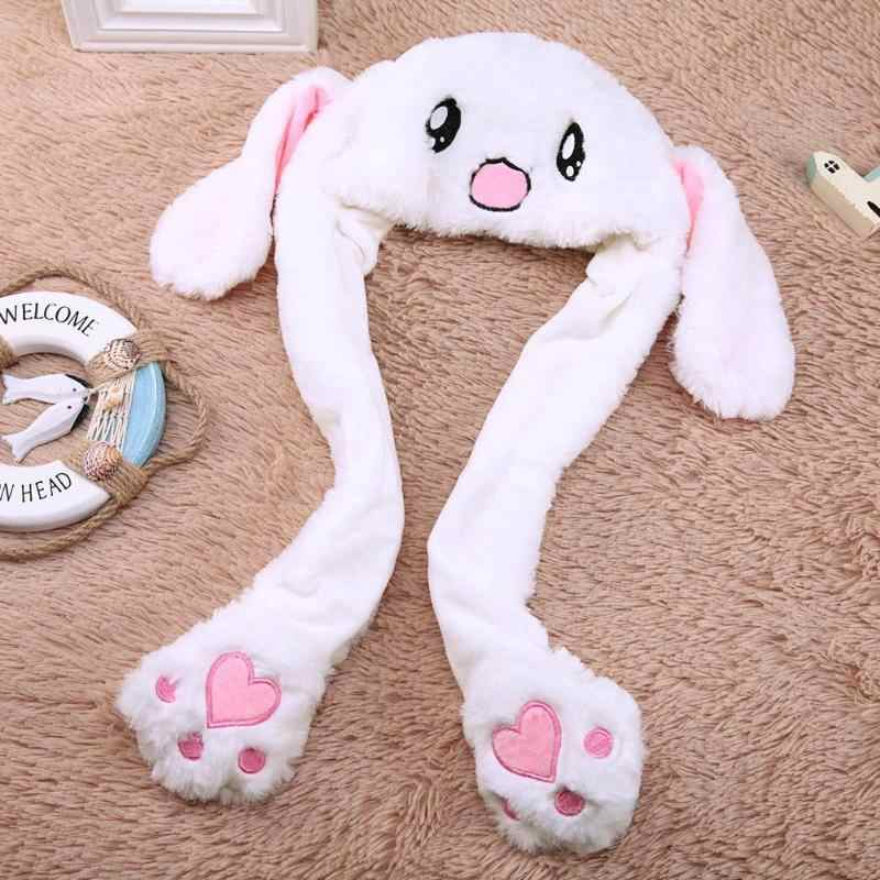26f3135b ... Lovely Baby Cartoon Plush Moving Ears Rabbit Hats Toys Kids Funny  Adults Pinching Soft Ear Animals