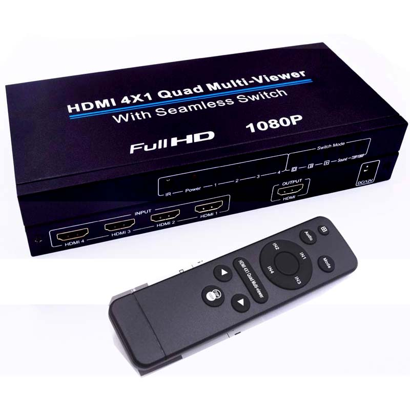 HDMI 4x1 Switch Quad Multi Viewer Splitter Ultra with Seamless Switcher HD Video 1080P Compliant With HDMI 1.3a HDCP 1.2