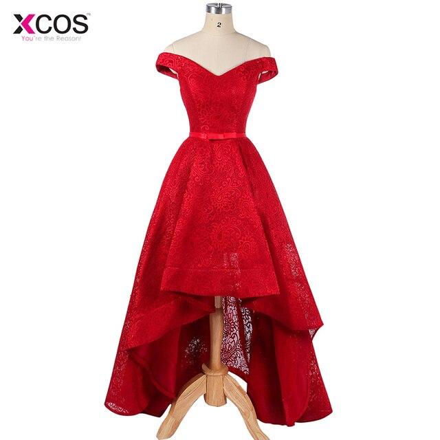 Elegant High Low Prom Dresses Off Shoulder Sexy Women Lace Party Banquet Dress Vestidos De Festa Formal Evening Gown