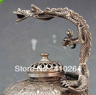 0116P old craft fast shipping 5 5 Tibet Buddhism White Copper Silver Dragon Censer incense burner Statue A0321 in Statues Sculptures from Home Garden