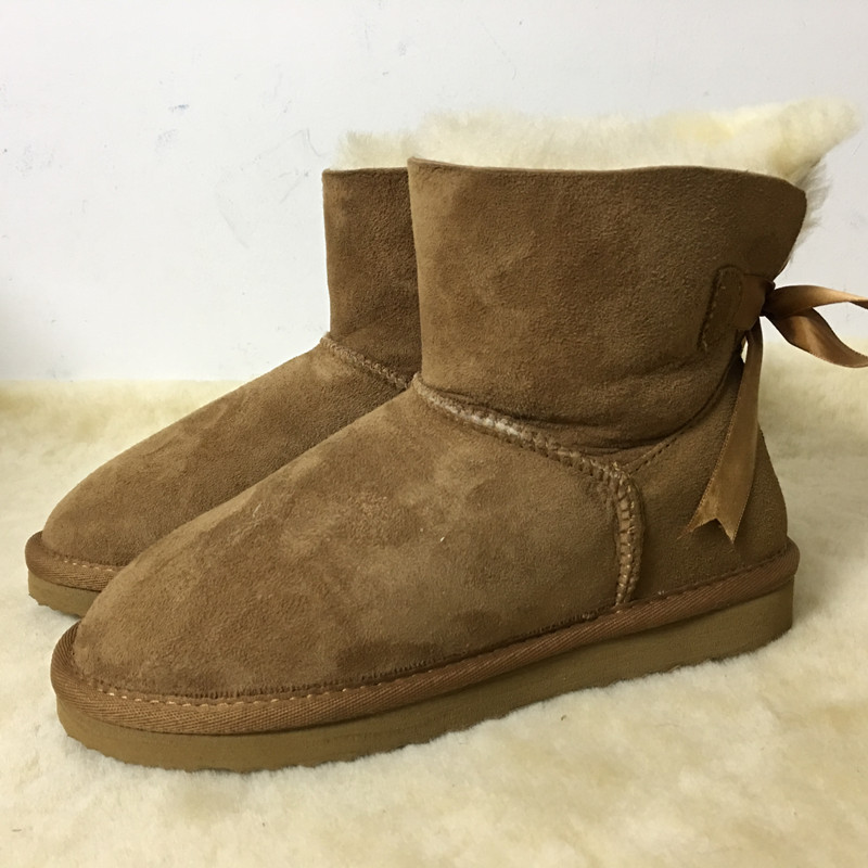ФОТО MBR 2017 Fashion nature real sheepskin leather fur lined girls short ankle snow boots for women winter shoes flats Size 35-44