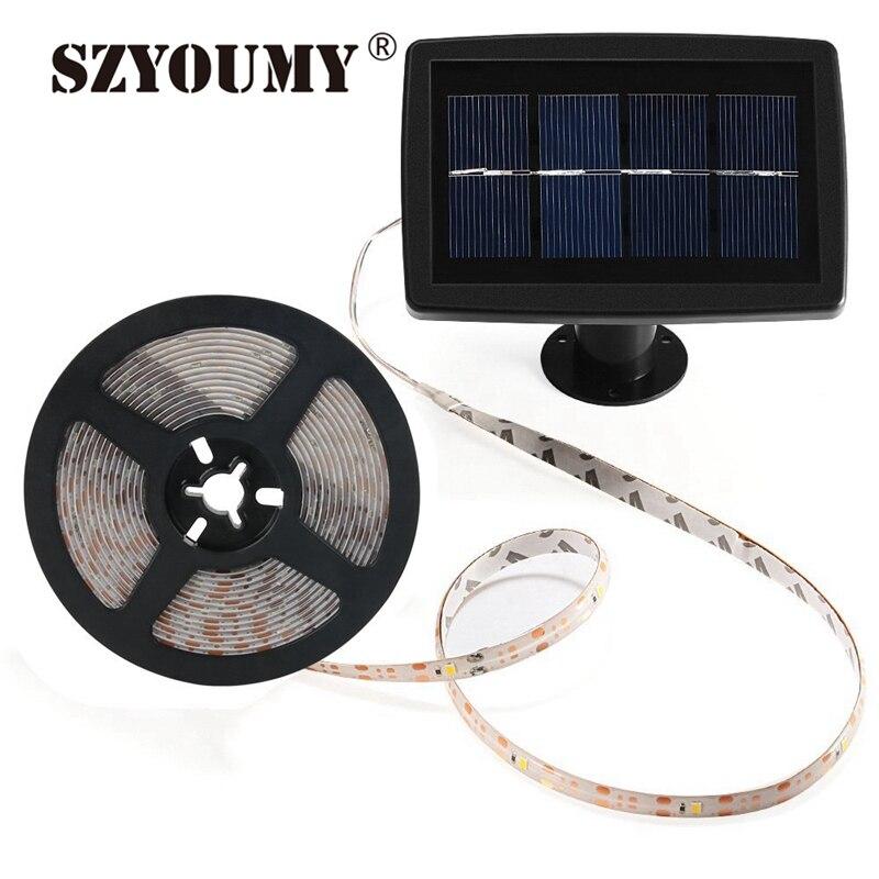 SZYOUMY 5 м светодиодный гибкие солнечные прокладки SMD2835 150 светодиодный s Водонепроницаемый 2 режима Автоматическое включение/выключение света…