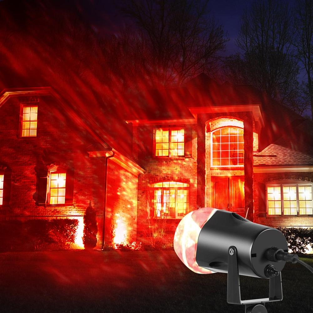Waterproof Magical Spotlight Rotating Led Projector Light With Flame Lightings For Christmas Festival Decorations (Red+green)