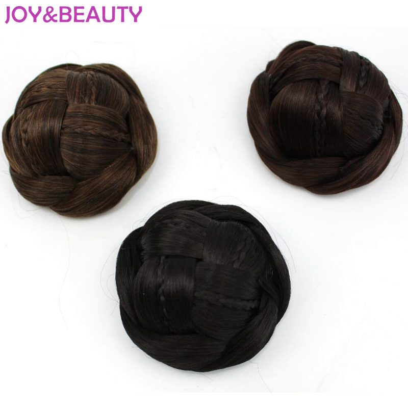 JOY&BEAUTY Hair Pure Manual Weaving Clip In Hair Chignon Synthetic Hair Chignon Hairpiece Donut Roller Bun Hairpiece Matte Color
