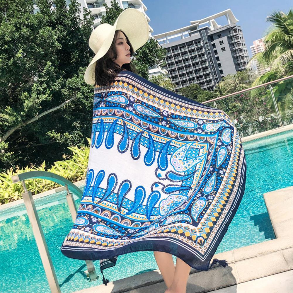 180X110CM Bohemian Style Print Women Long   Scarves     Wraps   Beach Towel Chiffon   Scarf   Shawl Female Accessories Fashion Beach Towels