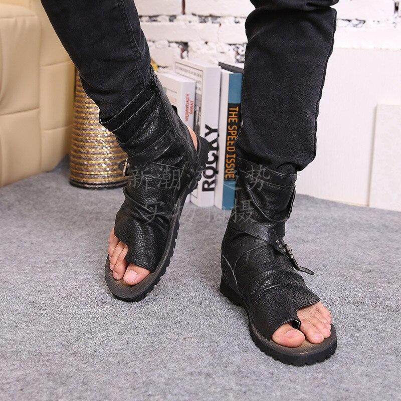 2016 vente chaude d'été plage chaussures hommes sandales noir en cuir véritable tongs Rome style homme cool haute sandales - 5