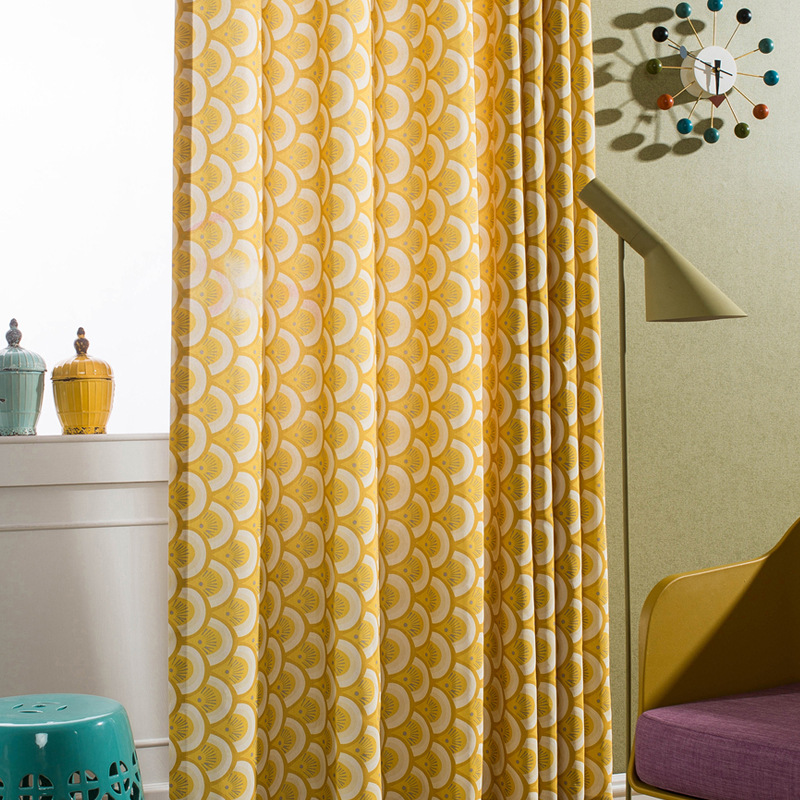 Fish Scale Pattern Yellow Window Curtain For Living Room Bedroom Elegant  Decorative Bohemian Curtains Rustic Oriental Fotoshtory In Curtains From  Home ...