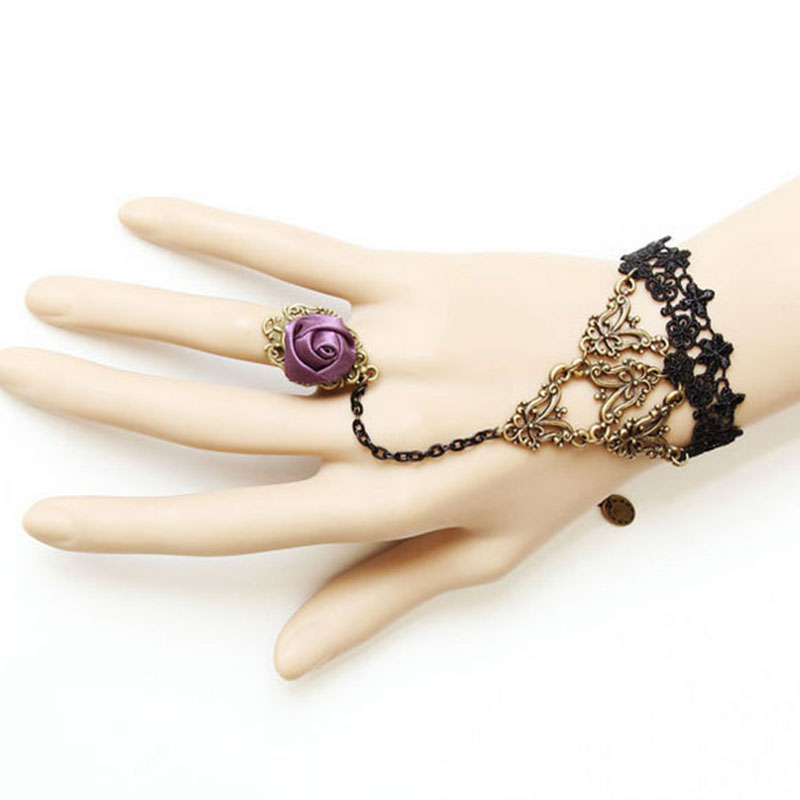 Vintage Style Ladies Gothic Lolita Black Lace Rose Dance Bracelet For Women LL@17