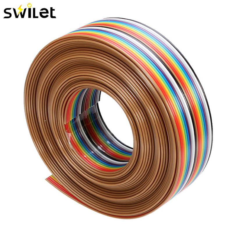 1PC 5M 1.27mm 20P DuPont Cable Rainbow Flat Line Support Wire Soldered Cable Connector Wire For DIY цена