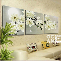 Diamond Embroidery Triptych White Flowers Home Decoration Whole Diamond Mosaic Square Drill Needlework Diamond Painting D487