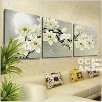 Diamond Embroidery Triptych White Flowers Home Decoration Whole Diamond Mosaic Square Drill Needlework Diamond Painting D487