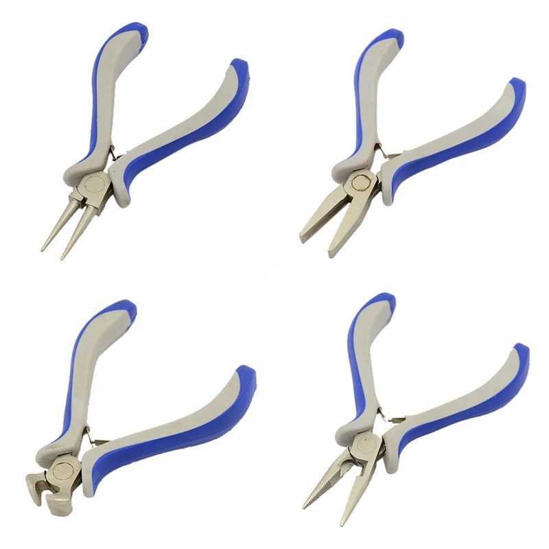 Jewelry Making DIY Tools Pliers, Flat Round Nose End Cutting Jewelry Plier, Ferronickel, Carbon-Hardened Steel diy lattice pattern carbon steel cutting die