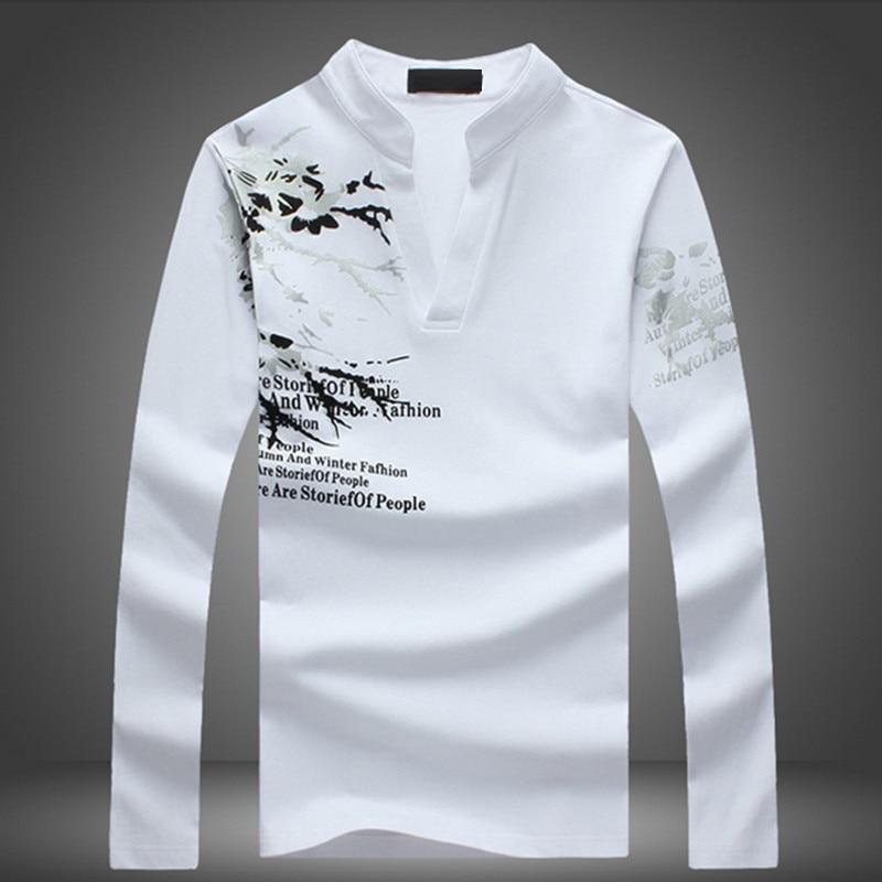 2018 New   Polo   Shirt Men Casual Style Spring Summer Printed Shirt Long Sleeve Hip Hop Cotton Breathable Casual Mens   Polos   M-5XL