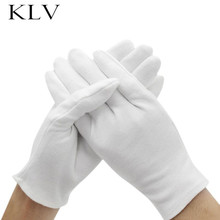 Men Women White Thickened Cotton Gloves Full Finger Formal Dress Parade Inspection Drivers Jewelry Workers Stretchy Mittens