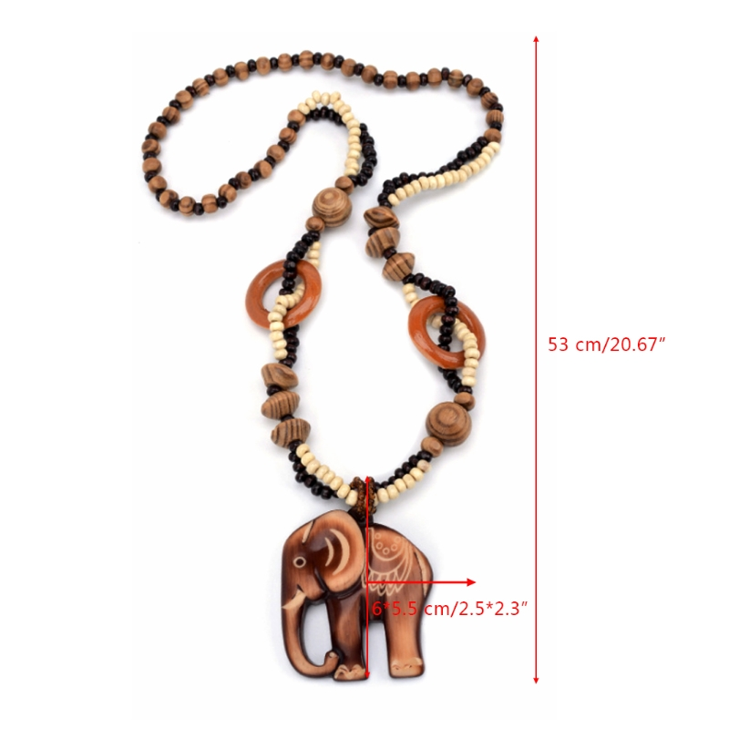 NEW Bohemia Women Wooden Carving Elephant Pedant Necklace Rosary Bead Buddhism Sweater Chain Jewelry