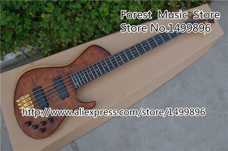 Magasin personnalisé 5 cordes chine guitare basse électrique 24 frettes ébène touche guitare cou gaucher Guitarra corps et Kit disponible