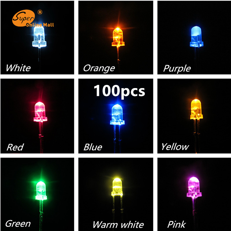 100pcs Led 3MM LED DIODE leds Round Top Urtal Bright Light Bulb Led Lamp 3MM Emitting Diodes Electro