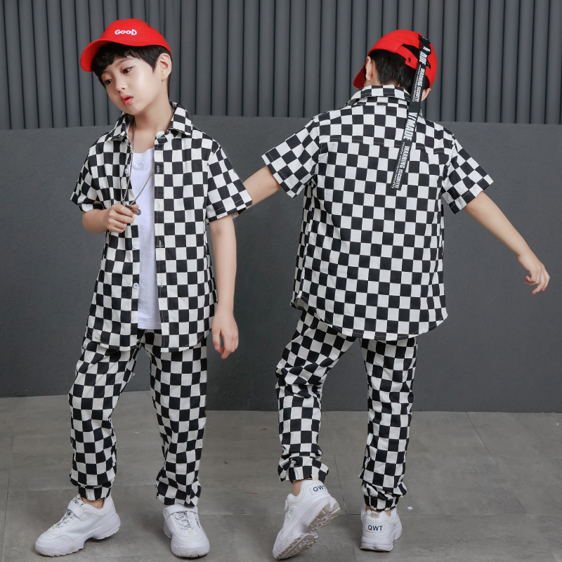 2018 Spring Summer Adult Kids Clothing Set Costumes Black White Plaid  Hip Hop Dance Pants & Jazz T-shirt Active Unisex  Twinset