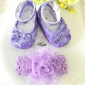 Kids little purple flowers Shoes Girl Princess Lace Headband Cute Infant Girl Toddler Shoes Set Newborn Photography Props 5TX04