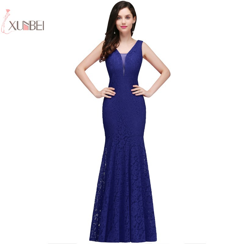 2019 Sexy Royal Blue Lace Mermaid Long   Prom     Dresses   V Neck Sleeveless   Prom   Gown gala   dress   vestidos de festa