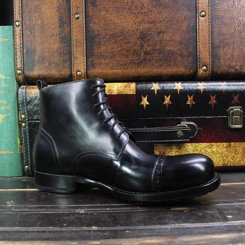 Sipriks hommes de luxe conception de grandes bottes à bout rond importé italien en cuir de veau robe cheville bottes noir haut à lacets botte de Cowboy - 4