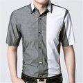 2016 бренд одежды уменьшают подходящие Camisa Masculina свободного покроя марка рубашка с короткими рукавами мужские рубашки Camisa социальной
