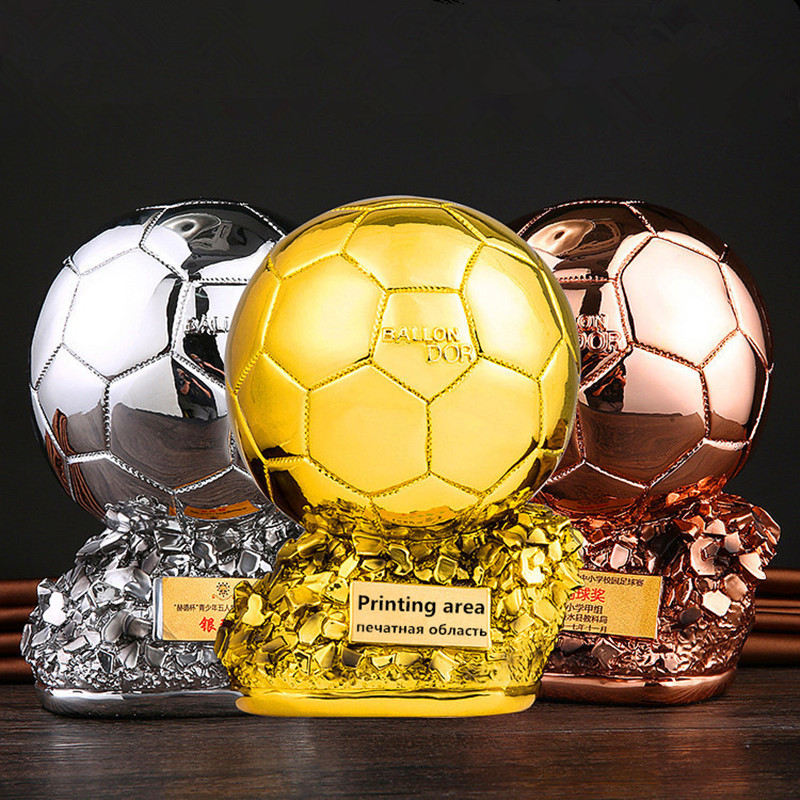 Resin Gold Ball Cup Trophy Football Golden Ball Award Souvenir Height25cm Decorative Resin Arts and Crafts Ornament Customizable