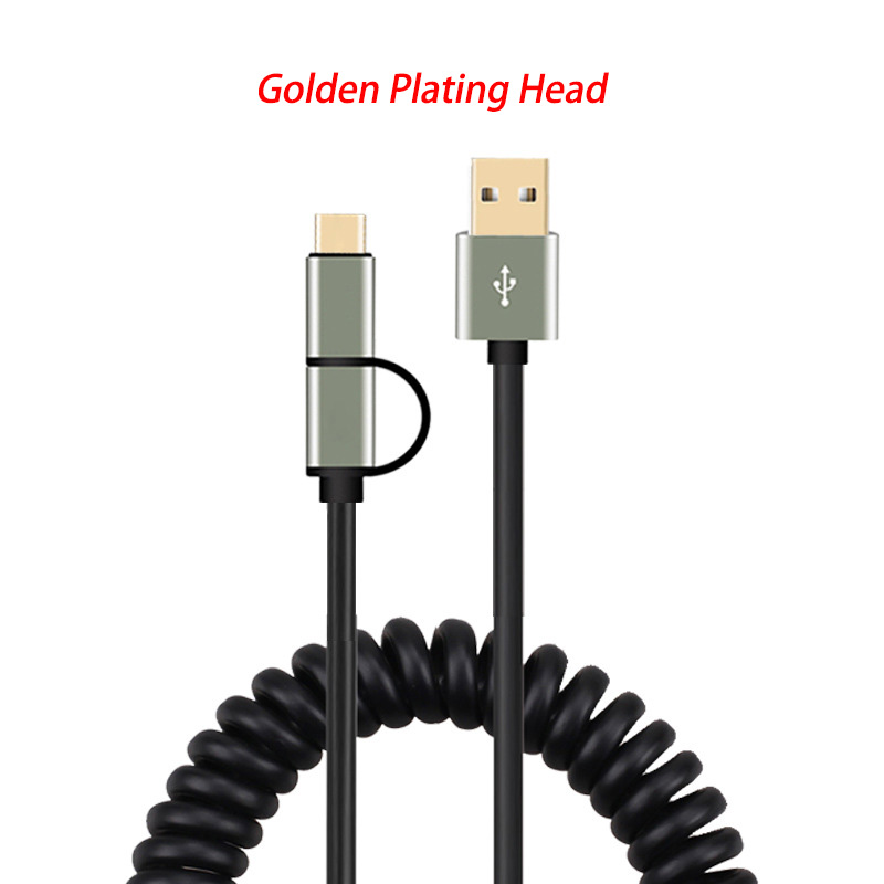 Image 3 - 2 in 1 Micro USB TYPE C Cable 2A Fast Charger Spring Data Cable For Samsung galaxy s6 s7 s8 s9 a3 a5 a7 a8 a9 note 2 3 5 8 9 j9-in Mobile Phone Cables from Cellphones & Telecommunications