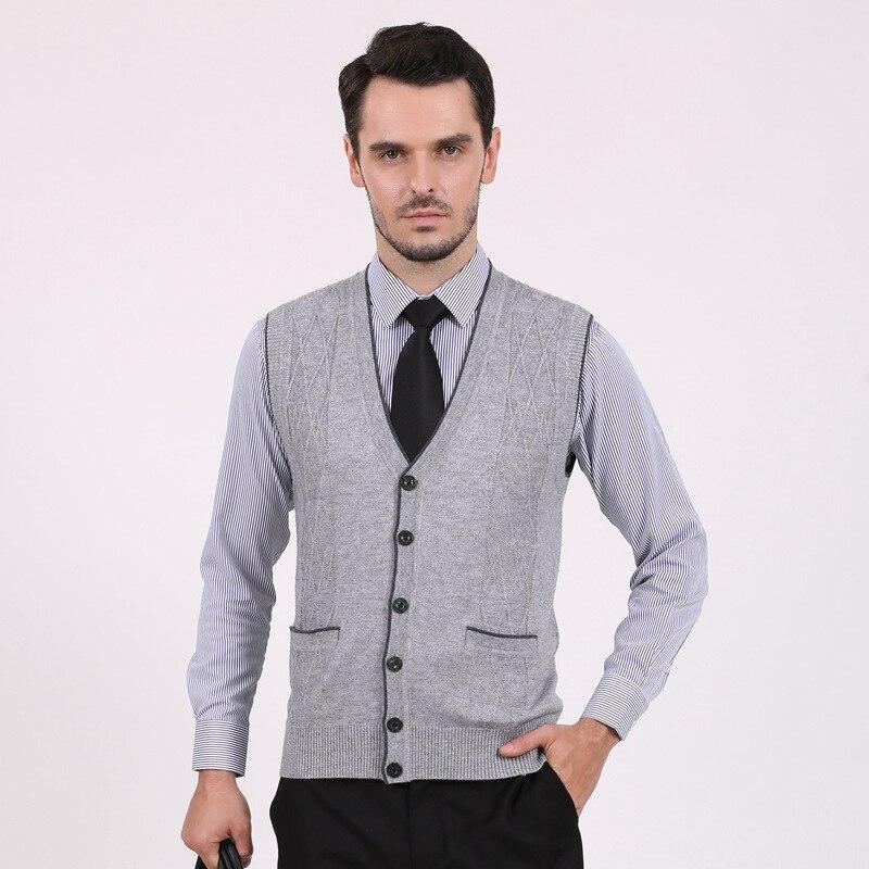 2016 Latest Design Fashion Mens V-neck Wool Sleeveless Cardigan Sweater
