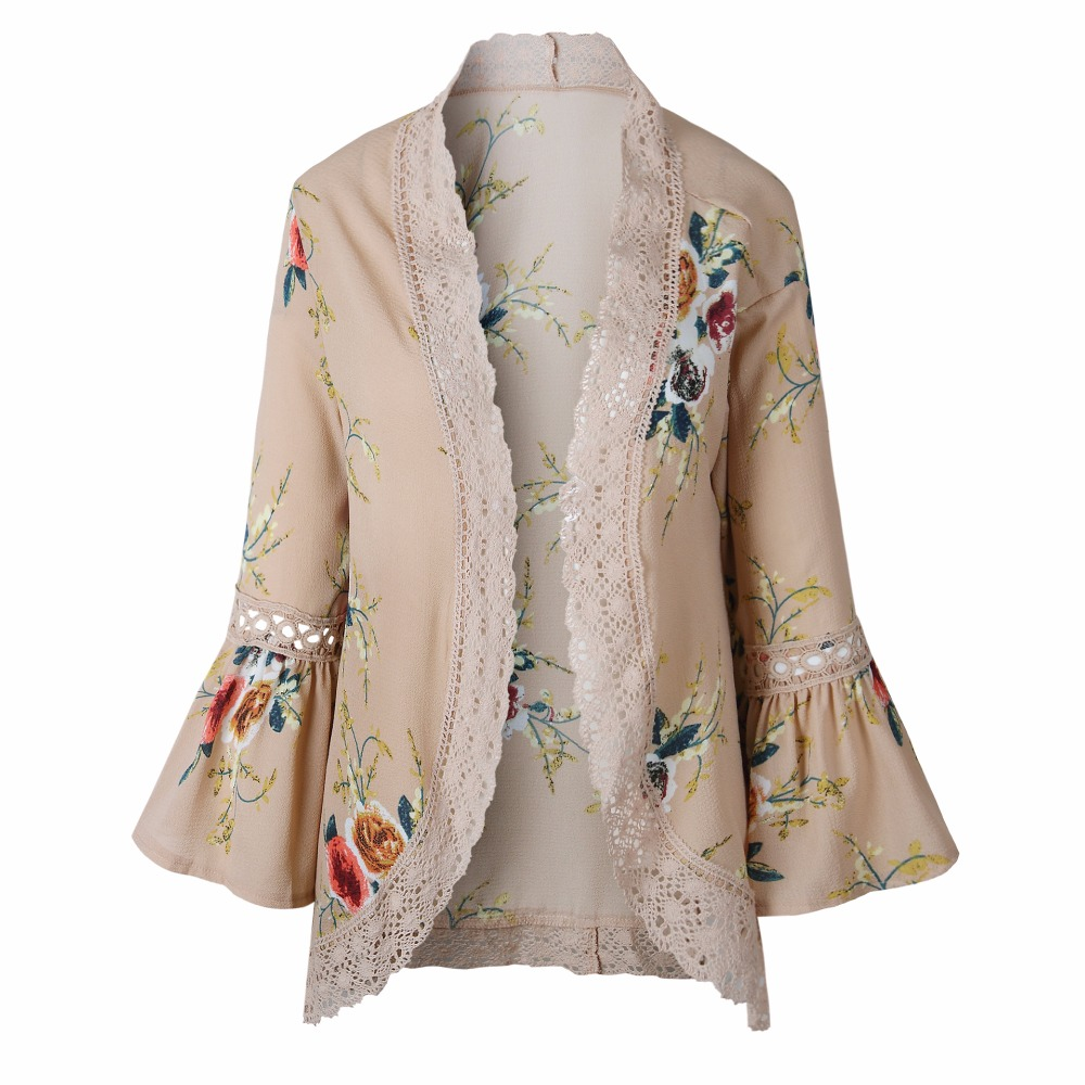 HTB1eDa5rruWBuNjSszgq6z8jVXaK Autumn 2019 Boho Women Jacket Lace Flare Long Sleeve Slim Casual Open Stitch Tops Fashion Women Clothes Spring Shirt Coat Jacket