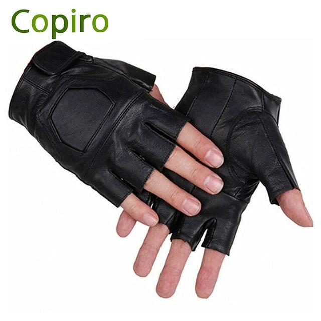 Copiro Summer Leather Sport Motor Cycle Bicycle Fingerless Half Finger Gloves Bike For Men Gym Sportswear Accessories