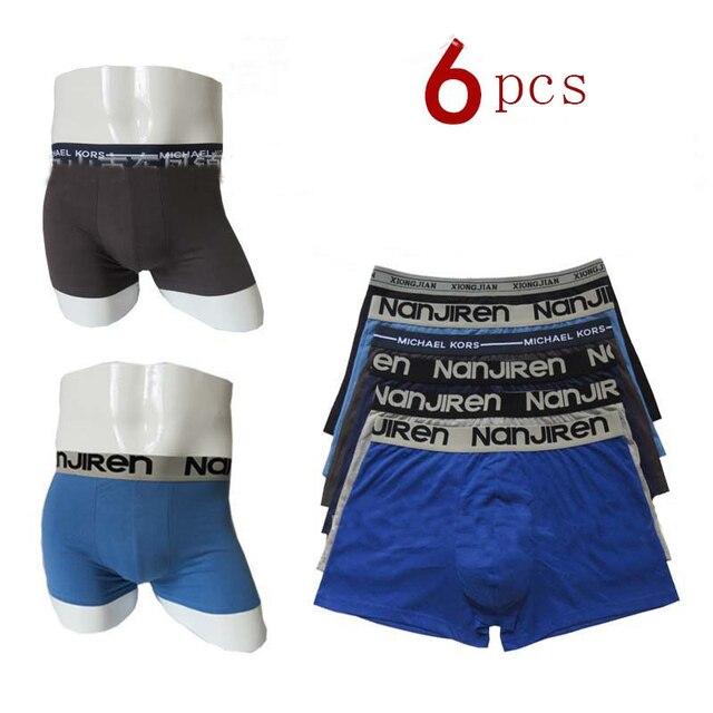 6 قطعة/الوحدة 100% القطن مرنة السروال الملاكم الملونة السروال vetement أوم الصلبة الملاكمين الرجال القطن رجل قصيرة تنفس