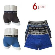 Boxer souple pour hommes, lot de 6 pièces, caleçons courts en coton coloré, 100% coton solide, respirant
