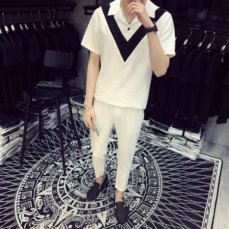 DEKUSI short sleeve Lapel T shirt men set Summer Wear New Pattern V word Splicing tracksuit Suit male ...