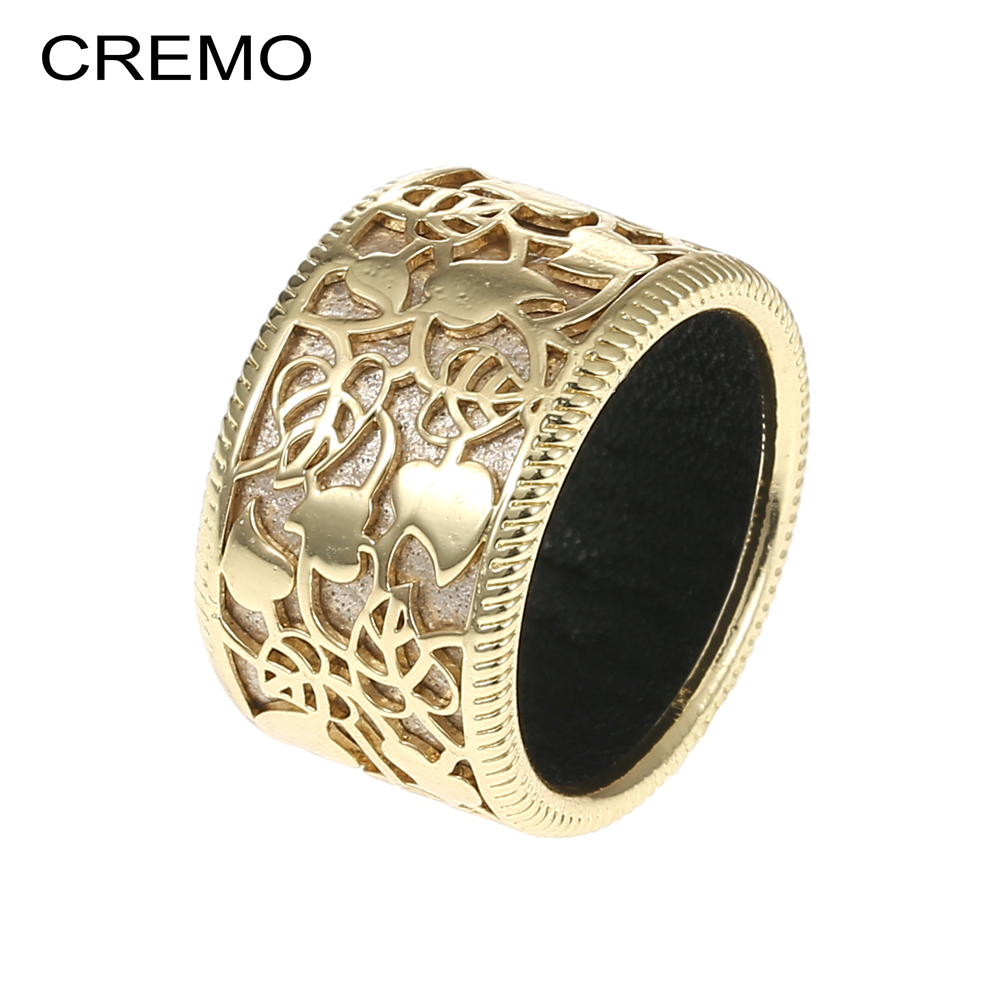 Cremo Neue Mode Gold Farbe Herz Geformt Hohl Ring Elegante Bijoux Femme Finger Ringe Reversible Leder Bagues Gießen Femme Den Speichel Auffrischen Und Bereichern