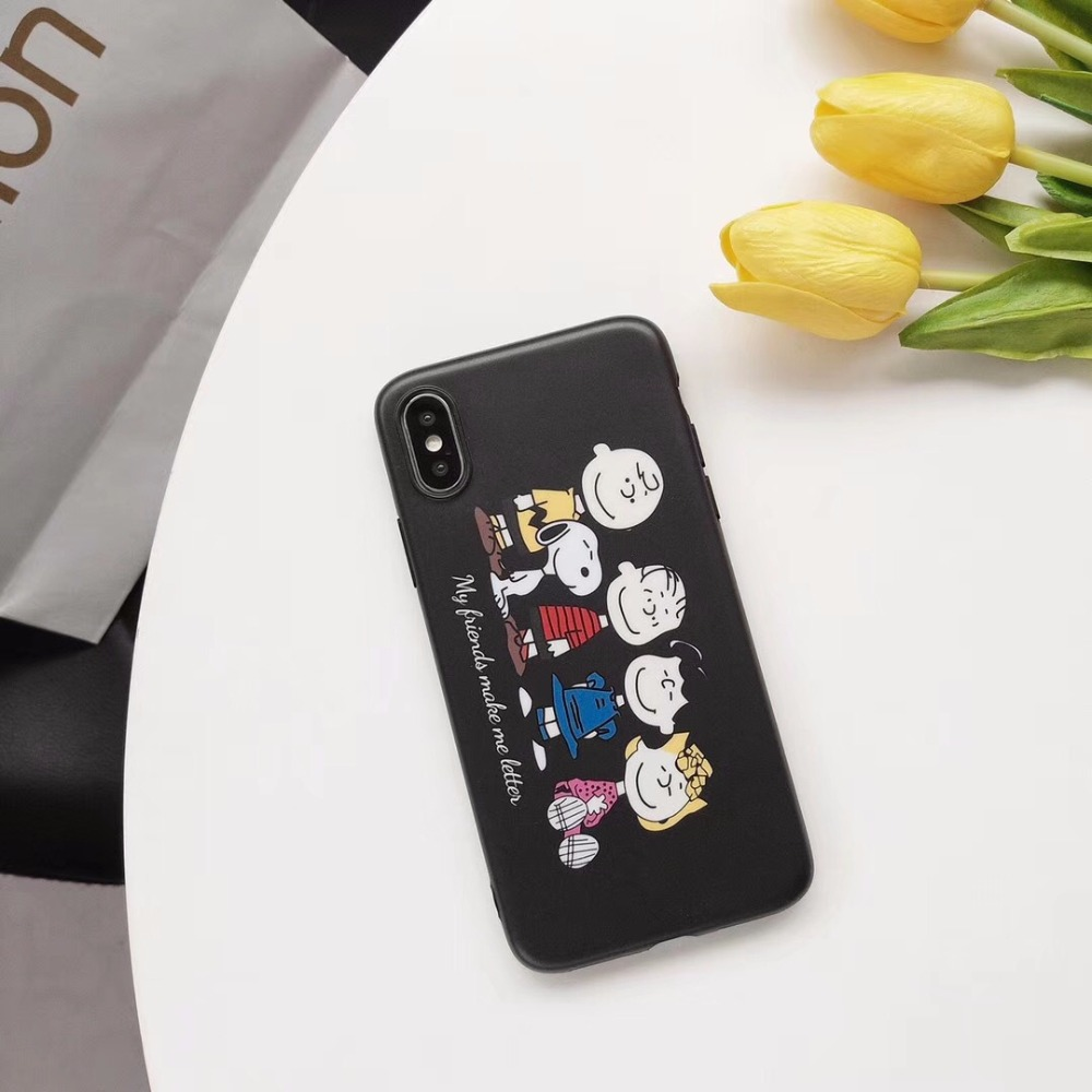 Ins Hot Japan Carton Dog Peanuts With Friends Boy Girl Carton Smiling Face White Dog Case For iPhone x 10 6 7 8 Plus