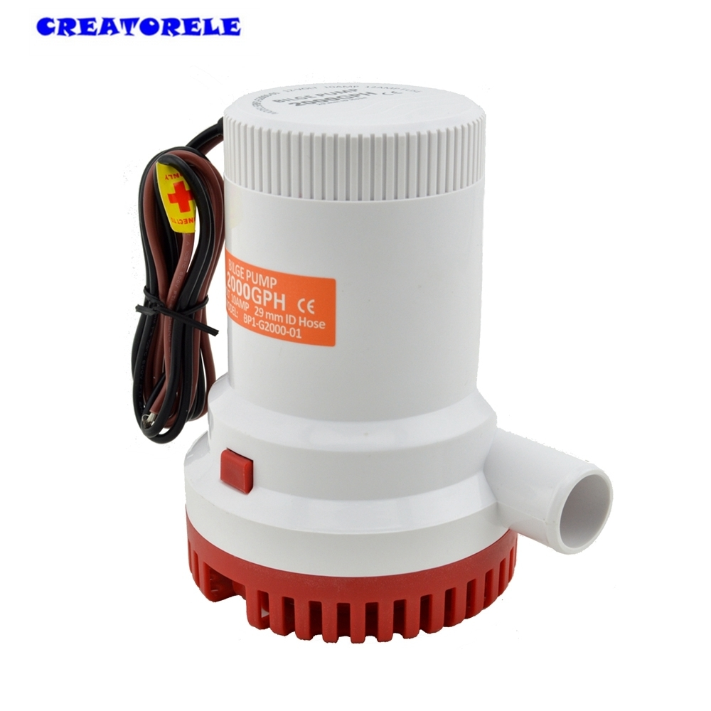 2000GPH 12V water bilge pump Submersible High Flow Submersible Marine Electric H1E1 transfer цена