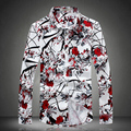 2016 2017 spring new print floral shirts men fashion flower shirts man high quality plus size 3XL 4XL 5XL