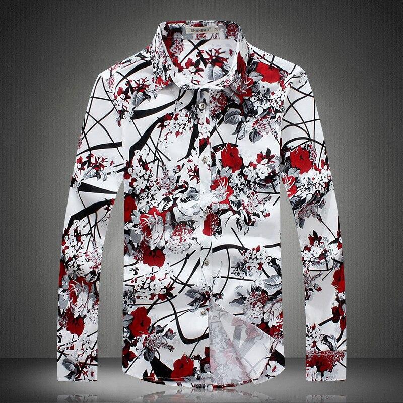 2018 Spring New Print Floral Shirts Men Fashion Flower