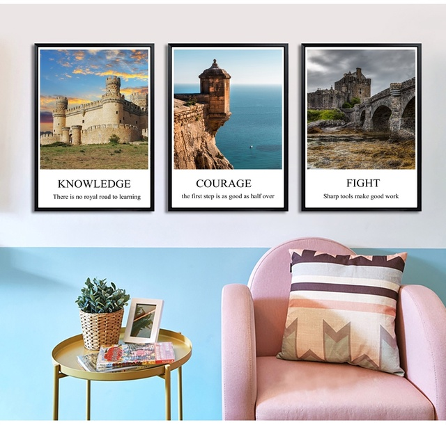 landscape castle inspirational motivational wall art canvas painting for living room nordic marble picture decoration