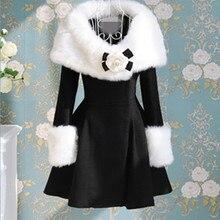 Модное женское длинное пальто с воротником из искусственного меха, элегантное приталенное платье средней длины, верхняя одежда, зимнее женское пальто