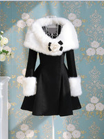 Fashion Women S Faux Fur Collar Cuff Long Overcoat Elegant Slim Medium Long Dress Outerwear Winter