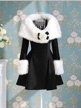 Fashion women's faux fur collar cuff long overcoat elegant slim medium-long dress outerwear winter coat women free shipping