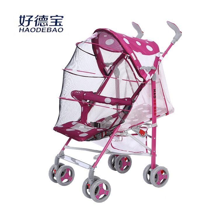 Summer Full Mosquito Net Cover Baby Folding Trolley Newborn Lie Flat Baby Carriage Four Wheels Umbrella Cart Children's Wagon