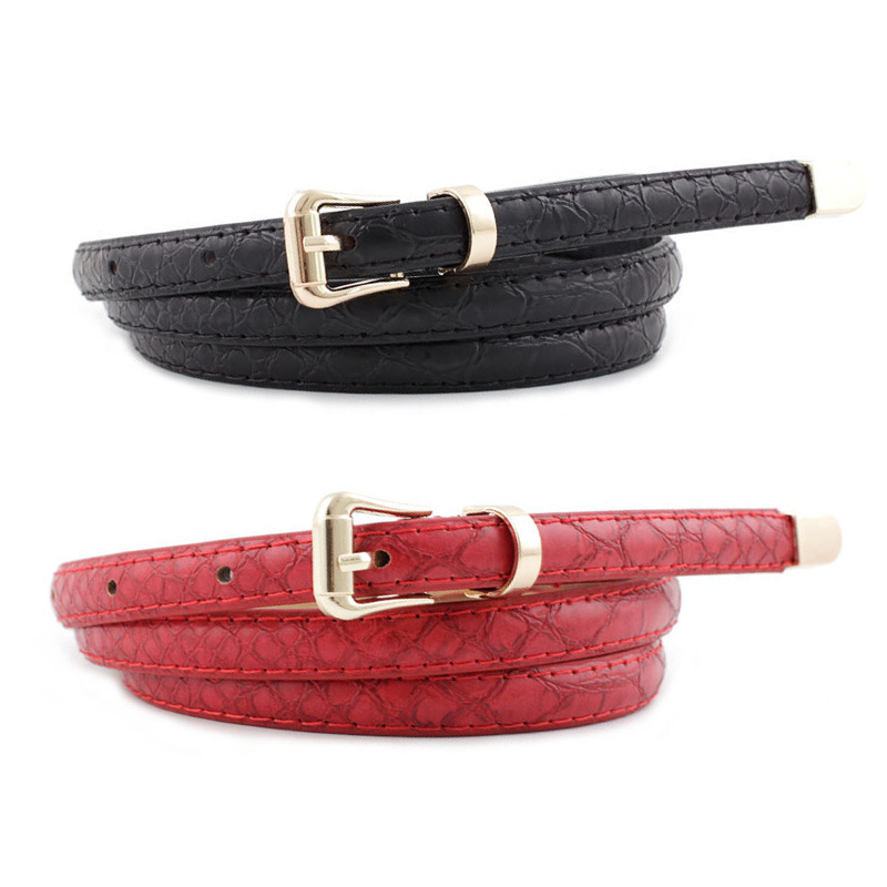 2019 Ladies Thin Skinny Black White Red Brown Pink Snake Skin Waist Belt Women Faux Pu Leather Belts For Dresses Cinto Feminino