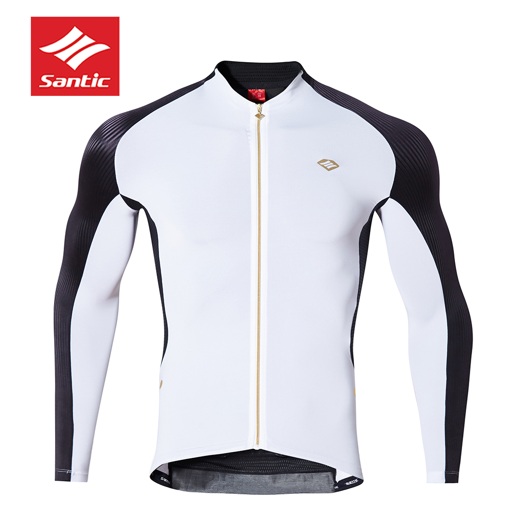 2018 SANTIC Long Sleeve cycling jersey Black & white specialized MEN cycling clothing outdoor sport riding maillot bike fitness santic men s cycling hooded jerseys rainproof waterproof bicycle bike rain coat raincoat with removable hat for outdoor riding